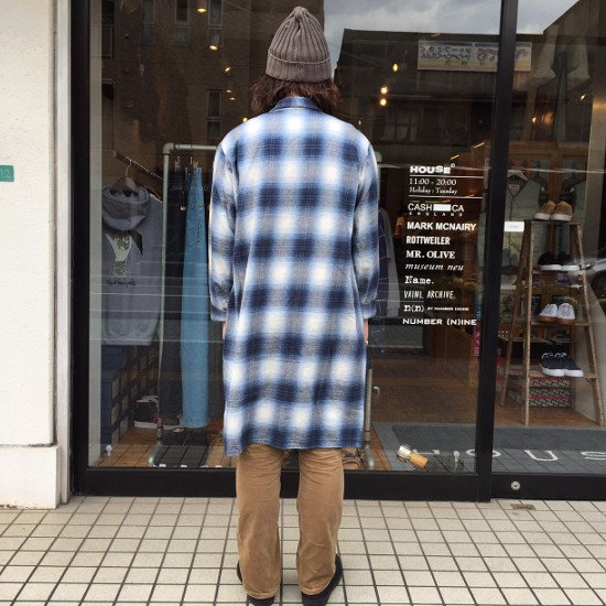 ROTTWEILER ロットワイラー / ガウン USED CHECK NEL GOWN 【BLUE】
