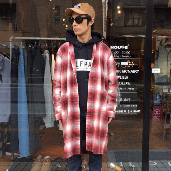 ROTTWEILER ロットワイラー / ガウン USED CHECK NEL GOWN 【RED】