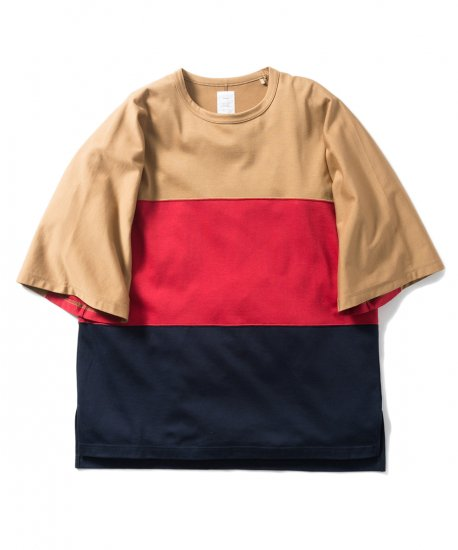 Name.  ネーム / Tシャツ  OVERSIZED TRICOLOR TEE 【BEIGE x RED x NAVY】