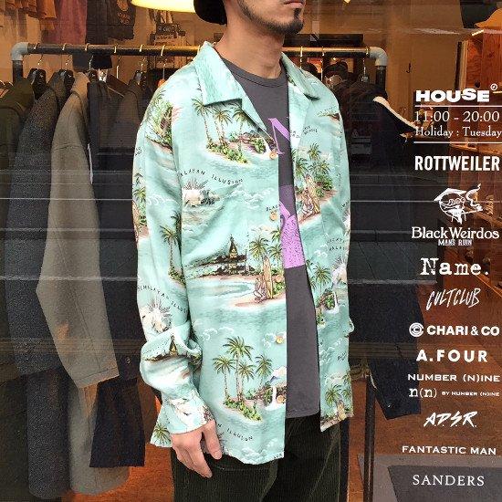 <img class='new_mark_img1' src='https://img.shop-pro.jp/img/new/icons3.gif' style='border:none;display:inline;margin:0px;padding:0px;width:auto;' />Black weirdos  ブラック ウィドー / アロハシャツ LaceUp Himalayan Aloha Shirt