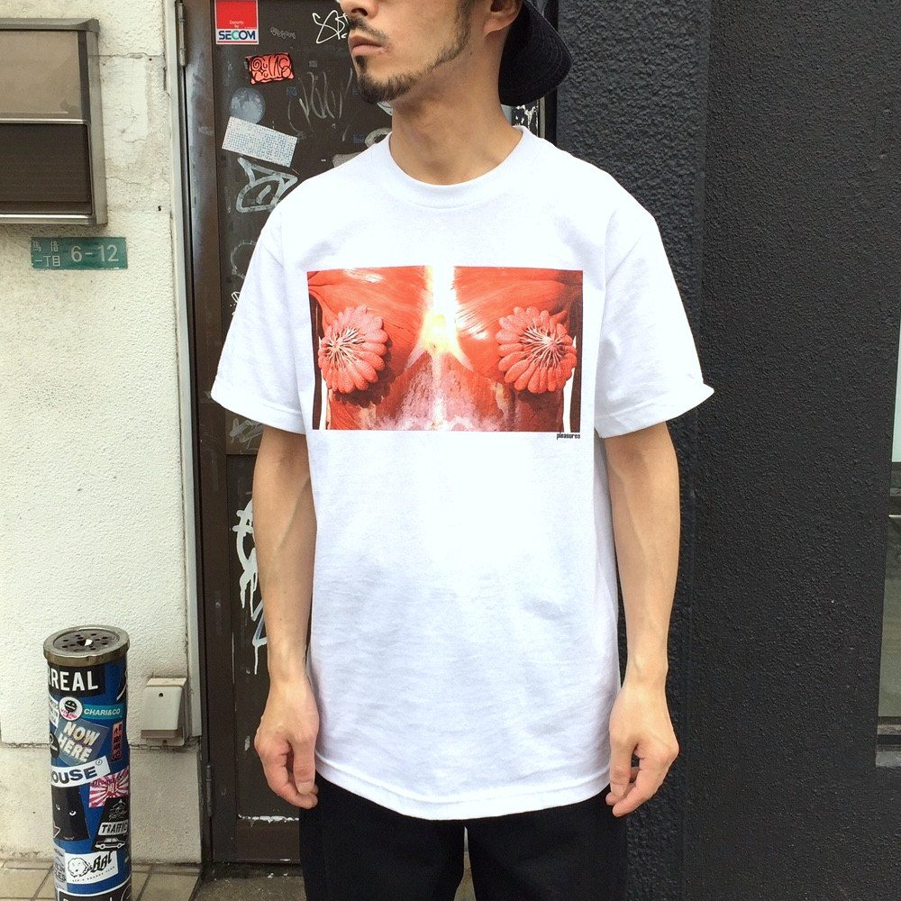 <img class='new_mark_img1' src='https://img.shop-pro.jp/img/new/icons3.gif' style='border:none;display:inline;margin:0px;padding:0px;width:auto;' />PLEASURES プレジャーズ / Tシャツ MAMMARY T-SHIRTS 【WHITE】