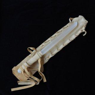 SW067 セレナイトワンド(中)キャメル革袋  細長 330mm