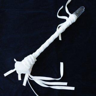CW015 コッパーワンド ホワイト革 モルガナイト&レムリアンシード 410mm
