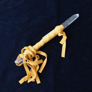 CW019 コッパーワンド クリアクォーツエンジェル & レムリアンシード キャラメル革ひも 290mm