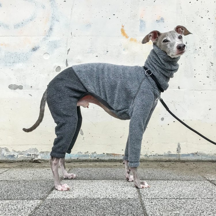 FLEECE L/S ROMPERS [GRAY/CHARCOAL]