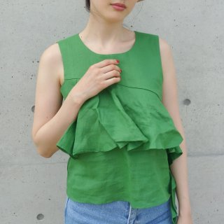 [即納] Ruffle sleeveless tops (GREEN)