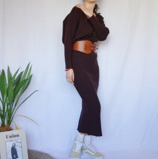 Knit skirt setup (BROWN)