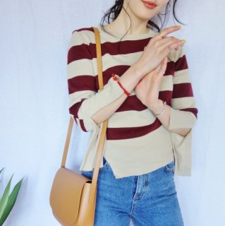 Border knit pullover (RED)