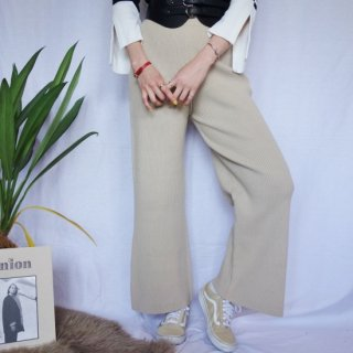 Rib knit pants (BEIGE)