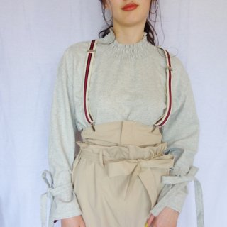 [即納] Ribbon sleeve blouse (GRAY)