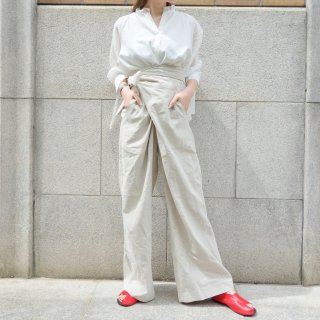 [予約] Wrap line wide pants