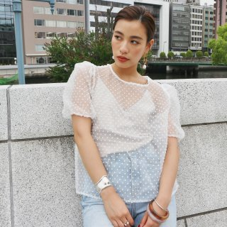 [即納] Puff dot blouse (WHITE)