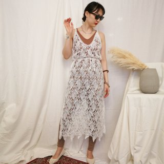 [即納] Lace summer onpiece (WHITE)