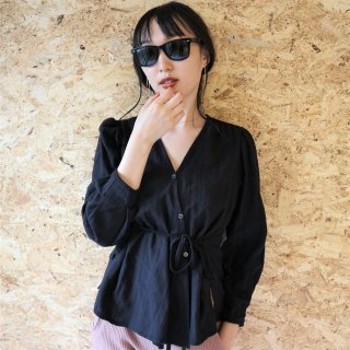 Cotton race blouse (BLACK)