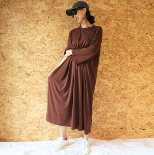 [即納] Waist gather sweat OP (BROWN)