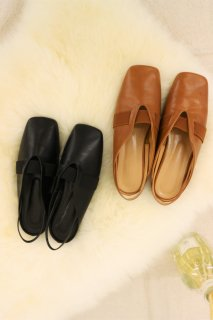 [即納] Lether slipper (BROWN)