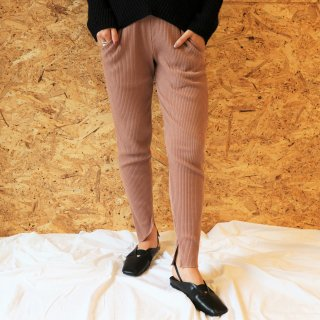 Rib leggings pants (BROWN)