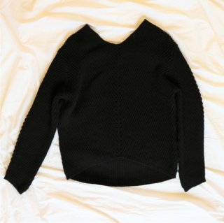 [予約] Vneck knit pullover (BLACK)