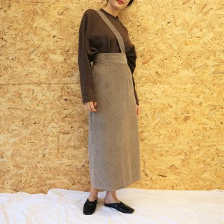 [即納] One shoulder corduroy skirt (GREGE)