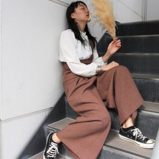 Tuck wide pants (BROWN)