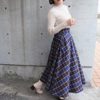 Wool check flare skirt (BLUE)
