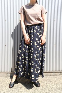 Natural flower long skirt (NAVY)