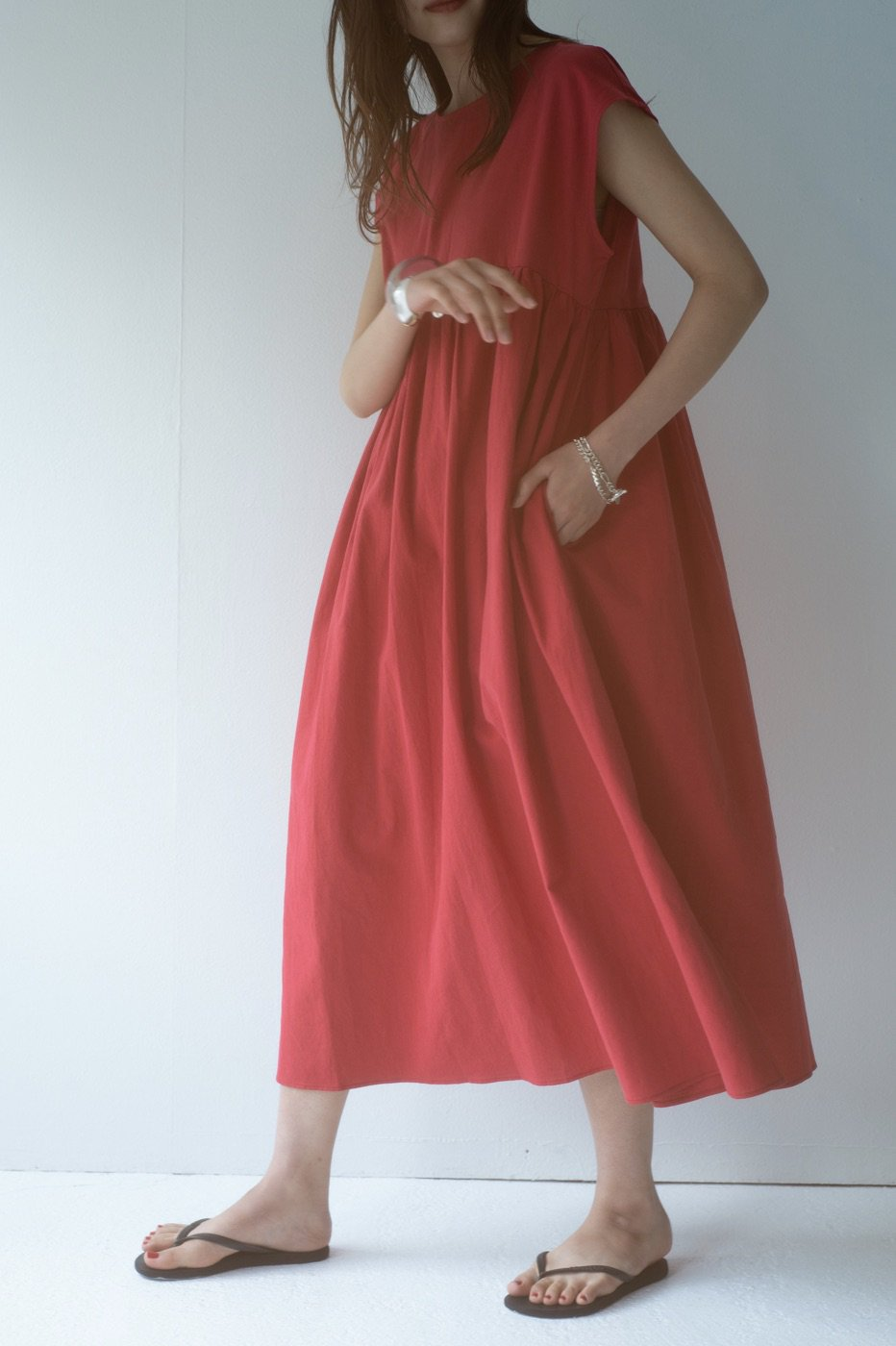 Linen gather dress (RED)