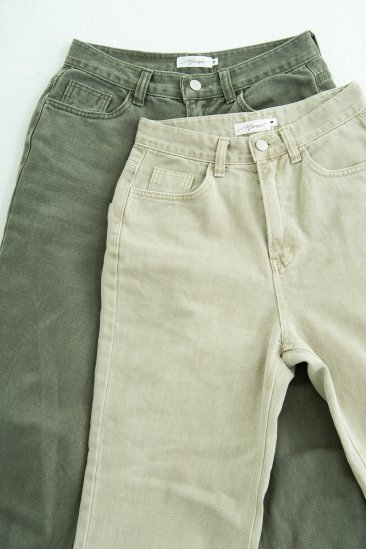 Earth color wide denim (KHAKI)