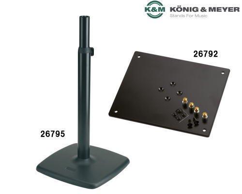 K&M モニタースピーカースタンド+天板 26795/26792 (ブラック)