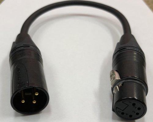 DMX 変換ケーブル 1m (オスNC3MXB−メス5FXB)