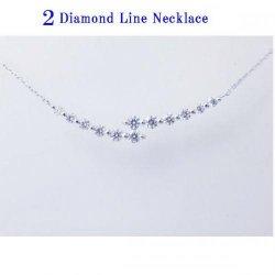 K18WG 2ライン ダイヤモンドネックレス 0.52ct