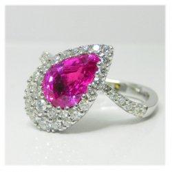 K18WGピンクサファイヤダイヤリング