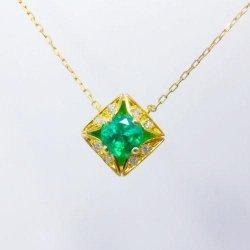 K18YG エメラルド ダイヤモンドネックレス E 0.30ct D 0.03ct