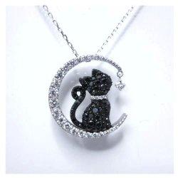 黒ネコダイヤペンダントK18WG D0.44ct BD0.47ct