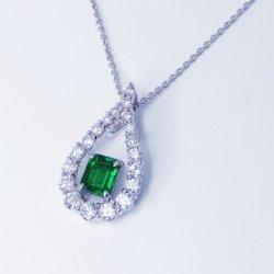 K18WG トップジェムカラーツァボライト ダイヤモンドネックレス G 0.48ct D 0.50ct