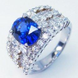 Pt900 ロイヤルブルーカラーサファイア ダイヤモンドリング S 3.04ct D 2.16ct