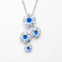 Pt900 アウイナイト フラワーモチーフダイヤモンドネックレス 45cm HA 0.15ct D 0.69ct
