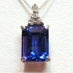 K18WG タンザナイト ダイヤモンドネックレス TA 3.11ct D 0.07ct