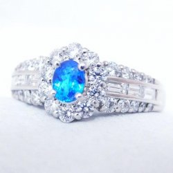 Pt900 ブラジル バターリア産 オールドネオンブルー パライバトルマリン ダイヤモンドリング PA 0.21ct D 0.63ct 中央宝石研究所鑑別分析書付き