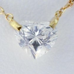 K18YG C-LINE ハートシェイプダイヤモンドネックレス D 0.85ct I-SI2 中央宝石研究所鑑定書付き