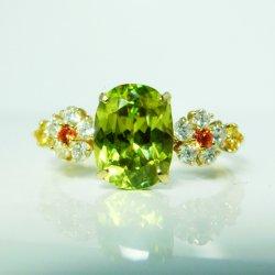 K18YG グリーンスフェーン ダイヤモンド イエローサファイアリング GS 1.51ct D 0.18ct YS 0.08ct