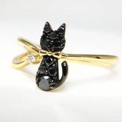 K18YG C-LINE 黒猫 ブラックダイヤモンド ダイヤモンドピンキーリング BLD 0.09ct D 0.01ct