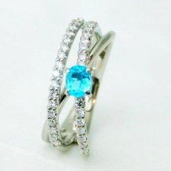 ブラジル産 ネオンブルー パライバトルマリン ダイヤモンドリング PA 0.23ct D 0.29ct 中央宝石研究所鑑別分析書付