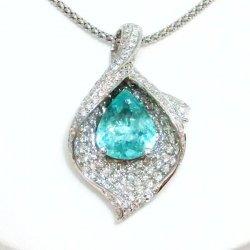 K18WG パライバトルマリン ダイヤモンドネックレス PA 2.06ct D 0.95ct 中央宝石研究所鑑別分析書付