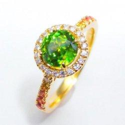 K18YG グリーンスフェーン ダイヤモンド ファンシーカラーサファイアリング GS 1.00ct D 0.12ct SA 0.12ct