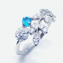 Pt900 ブラジル バターリア産パライバトルマリン H&Cダイヤモンドリング PA 0.147ct D 0.22ct 中央宝石研究所鑑別分析書付