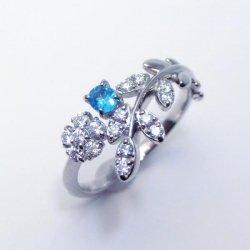 Pt900 ブラジル バターリア産パライバトルマリン H&Cダイヤモンドリング PA 0.101ct D 0.22ct 中央宝石研究所鑑別分析書付