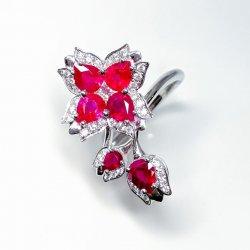 ミャンマー産ルビー フラワーモチーフダイヤモンドリング R 2.02ct D 0.36ct K18WG