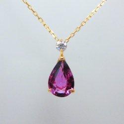 K18YG パープルサファイア ダイヤモンドネックレス SA 1.254ct D 0.07ct