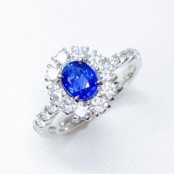 コーンフラワーカラーサファイア ダイヤモンドリング SA 0.768ct D 0.76ct Pt900